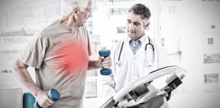 Senior Citizen on Treadmill under doctors supervision